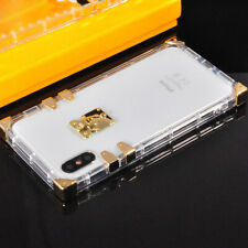 iPhone Transparent Soft TPU Case Cover Luxury Gold Metal Square Ultra Thin Clear