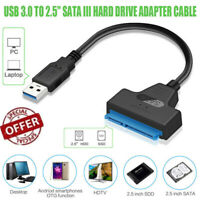"""USB 3.0 to 2.5"""" SATA III Hard Drive Adapter Cable-SATA to USB3.0 Converter it LY"""