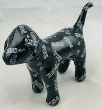 Victoria Secret PINK Black with White Print Stuffed Logo Dog Shiny