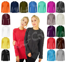 New Ladies Long Sleeve Chunky Cable Knitted Jumper Crew Neck Sweater Top SM-XL