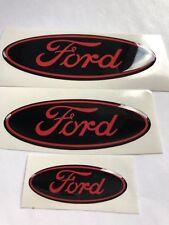 Ford Fiesta Mk7.5  Gel Badge Overlay Full Set ,  Black  / Red