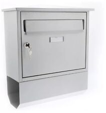 Sterling Itchen Steel Postbox with Newspaper Holder - silver