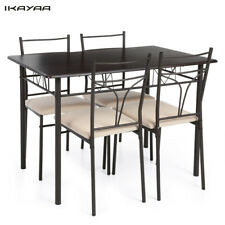 5PCS Modern Dining Table with 4 Chairs Set Metal Frame Home Kitchen Furniture US