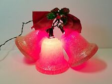 "Vtg 50s Xmas Decoration Lights Red Frosted Bells Ornament Cluster 5"" Holly Berry"