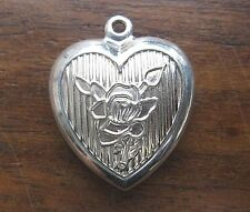 Vintage silver REPOUSSE FLOWER PUFFY PUFF HEART PUFF WALTER LAMPL charm RARE WL