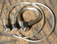 Niger Tuareg silver + ebony hand engraved  hoop earrings + silver small ring set