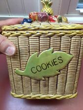 Vintage Japan Pottery Basket Weave Fruit 6X6 Cookie Jar w Wicker Handle Pre-1970