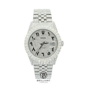 Rolex Datejust 36mm Stainless Steel Pave Arabic Diamond Dial 15.00ct