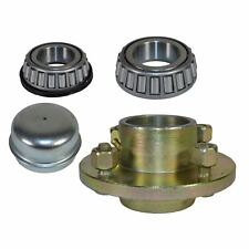 "Trailer Cast Wheel Hub 4"" PCD  1"" Taper Bearing 4 Stud With Wheel Nuts And Cap"