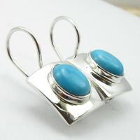 925 Sterling Silver OVAL TURQUOISE HIGH POLISHED Earrings Jewelry 1 inches NEW