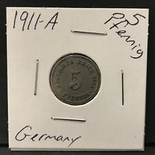 Germany German Empire 1911A 5 Pfennig Coin 106 years old Great Condition