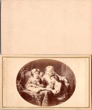 Tableau représentant trois enfants lisant Vintage CDV albumen carte de visite