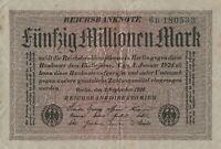 Reichsbanknote Fünfzig Millionen Mark Reichsbankdirektorium Berlin 1923