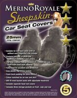 Sheepskin Car Seat Covers Mazda BT50 , Seat Airbag Safe, Five Colours. 25mm TC