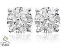 CERTIFIED 1.50ct  BRILLIANT ROUND-CUT F/SI1 DIAMONDS IN 14K GOLD STUDS EARRINGS