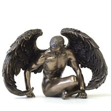 Bronzed Finished Winged Nude Male Angel Statue Sculpture Collectible Figurine