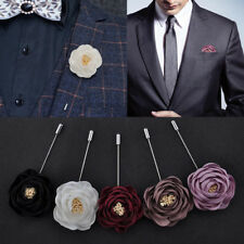 Lot 5color Handmade Men's Suit Rose Flower Boutonniere Brooch Lapel Pin Wedding
