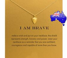Dogeared I AM BRAVE Shield Gold Dipped Inspirational Message Pendant Necklace
