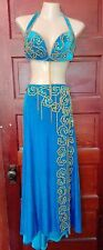Professional belly dance costume, Eman Zaki teal velvet, EUC! Aprox size: 10