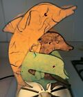 Vintage Ichiban Paper Lamp Light Leaping Dolphin Trio Dolphins Japan
