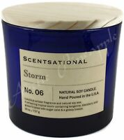 Scentsational Natural Soy Blend Large 26oz 3 Wick Candle Jar Wood Lid - STORM