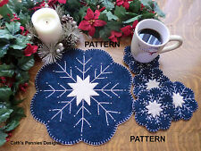 """""""Snowflake"""" Wool Applique Penny Rug Candle Mat with Mug Rugs  * Pattern*"""