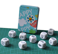 HPY Story Dice with Tin Box and Storage Bag, 9 cubes, storytelling brainstorming