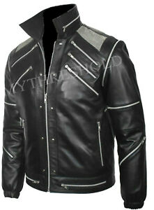 """Michael Jackson """"MJ Beat it"""" Black Real Leather Jacket with real metal mesh"""