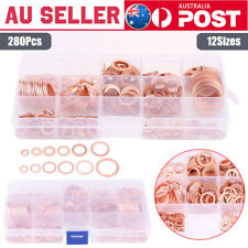 Durable 280pcs 12 Sizes Assorted Solid Copper Crush Washers Flat Rings Kit