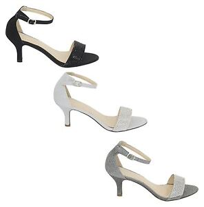 New Womens Mid Heel Diamante Buckle Ankle Strap Peep Toe Shoes 3-8
