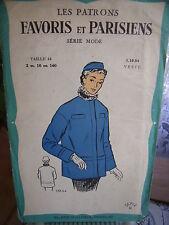 ANCIEN PATRON Favoris & Parisiens -Vintage French  VESTE SPORT   1940/50