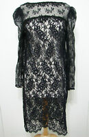 Vintage Dress Black Lace Embroidered Long Sleeve Tunic L