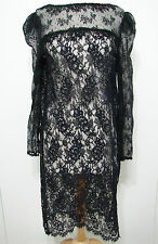 Vintage Black Lace Embroidered Long Sleeve Tunic Dress L