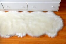 Sheepskin 5' Area Rug Nursery Rug Double Pelt Runner Warm White Fur Carpet Rug