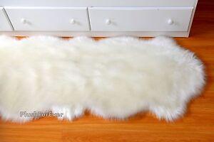 FREE-CUT Sheepskin 5' Area Rug Nursery Rug Double Pelt Runner Warm White