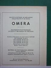 3/1960 PUB OMERA ARGENTEUIL PHOTOGRAPHIE AERIENNE EMETTEUR RECEPTEUR OPTIQUE AD