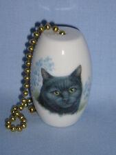 Black Cat with Blue Flowers Fan & Light Pull Porcelain 2 Inch 6 In Chain-L