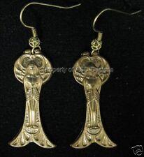 1pr Raw Brass Ancient Egyptian Fairy Wing Earrings 4801