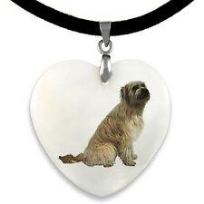 Catalan Sheepdog Natural Mother Of Pearl Heart Pendant Necklace Chain Pp136
