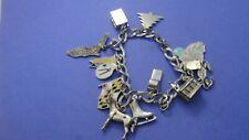 "Bracelet 13 Charms 7"" long 38.4g Vintage Genuine .925 Sterling Silver Charm"