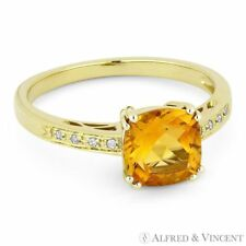 Right Hand Ring in 14k Yellow Gold 1.43ct Cushion Cut Citrine & Round Diamond