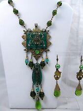 Art Deco Czech Glass Necklace & Earrings Set Egyptian Revival Sphinx NGS413