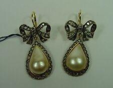 Orecchini in oro con diamanti taglio rosetta e perle mabè Liberty