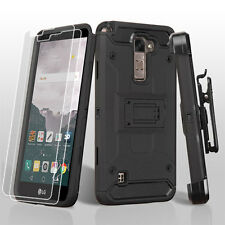 BK Armor Rugged Impact Case Holster + Screen Protector for LG Stylo 2 Plus MS550