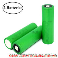 2x Sony Murata VTC6A IMR21700 4100mAh 40A Rechargeable Flat Top Battery USA