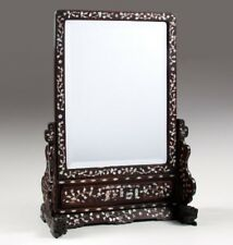 Chinese inlaid hongmu mirror set into stand, Qing dynasty  FREE SHIP