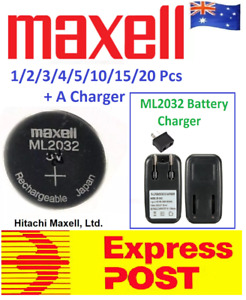 Maxell 3V ML2032 Lithium Rechargeable CMOS Battery ML 2032(Loose) With A Charger