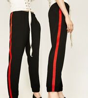 ZARA RED STRIPED BLACK TROUSERS JOGGERS PANTS BLOGGERS TRACKSUIT Bottom 2021/778