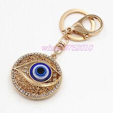Womens Turkish Blue Evil Eye Crystal Pendant Key Chain Bag Charm Lucky Keyring