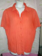 $58 C.J. Banks 3X peach crinkle button blouse short sleeve layered hip top